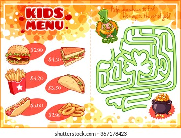 Kids Menu for fast-food with maze game. Hamburger, hot-dog, sandwich, tacos, french fries and onion rings. Template menu A4 size horizontal orientation.