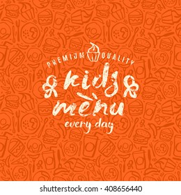 Kids menu label and fast food seamless pattern in brush drawing style. White print on color pattern background