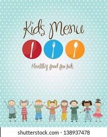 kids menu over blue background vector illustration