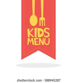 Kids Menu red label template vector illustration