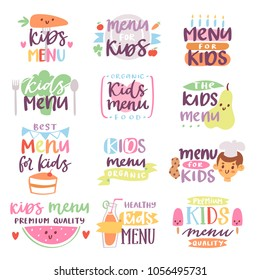 Kids menu sign vector illustration lettering template for childs food or meal in childish cafe or restaurant illustration set of baby cooking typography isolated on white background