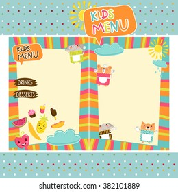 Kids menu template design
