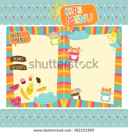 kids menu template design stock vector royalty free 382101889