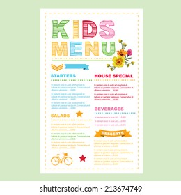 Kids menu. Vector template.