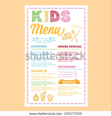 kids menu vector template stock vector royalty free 245175250