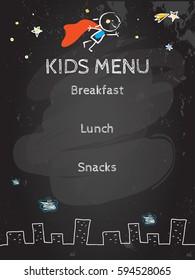 Kids menu vector template, cute children restaurant creative flyer, background. Chalk on blackboard hand drawn sketch style illustration.