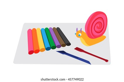 Kids molding tools set - colorful modeling clay, board and knifes, molded figure of snail Flat vector illustration