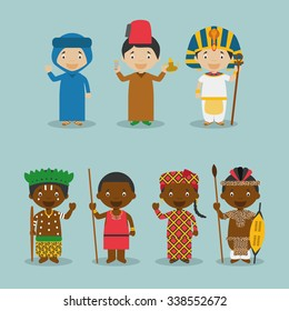 Kids and nationalities of the world vector: Africa Set 2. Set of 7 characters dressed in different national costumes (Morocco, Algeria, Egypt, Congo, Kenya/Masai, Mali and South Africa/Zulu).