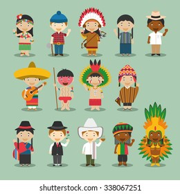 Kids and nationalities of the world vector: America Set 4. Set of 14 characters dressed in different national costumes. Canada, USA, Mexico, Cuba, Jamaica, Peru, Brazil, Argentina, Ecuador, Colombia..