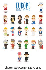 Kids and nationalities of the world vector: Europe Set 1 of 2. Set of 22 characters dressed in different national costumes.