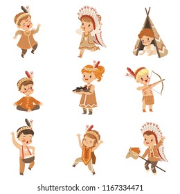 Kids in native Indian costumes and headdresses having fun set, children playing in American Indians vector Illustrations on a white background