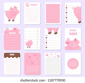 Kids notebook page pig template vector cards piggy, notes, stickers, labels, pink tags paper sheet illustration. Template cover for scrapbooking, wrapping, congratulations, notepaper invitation.