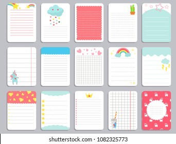 Kids notebook page template vector cards, notes, stickers, labels, tags paper sheet with unicorn illustrations. Template cover for scrapbooking, wrapping, congratulations, notepaper invitations.