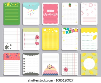Kids notebook page template vector cards, notes, stickers, labels, tags paper sheet illustration. Template cover for scrapbooking, wrapping, congratulations, notepaper invitation.