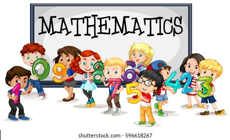 Kids with numbers and mathematics sign illustration