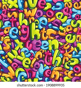 kids numbers words seamless pattern