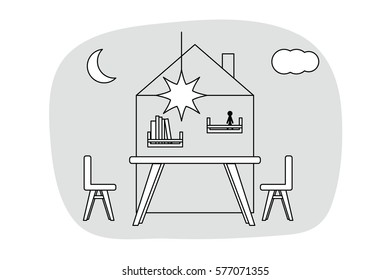 Kids nursery in outline style. Interior design in vector. Grey, black and white color room