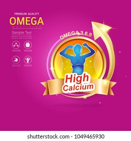 Kids Omega Calcium and Vitamin - Concept Logo Gold Kids