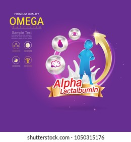 Kids Omega Calcium and Vitamin Concept Logo Gold Kids