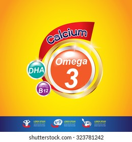 Kids Omega Calcium and Vitamin - Concept Logo Gold Kids