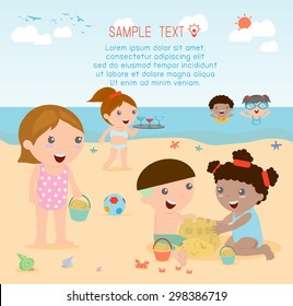 kids on the beach , children playing on the beach, Vector Illustration.