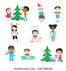Kids on Christmas vector cartoon characters boys and girls in Santa hat play with children decorate xmas tree and gifts in babyroom for celebrating Winter holiday cook cookies illustration isolated
