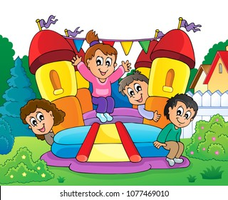 Kids on inflatable castle theme 2 - eps10 vector illustration.