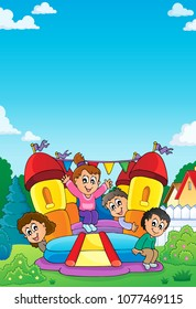 Kids on inflatable castle theme 1 - eps10 vector illustration.