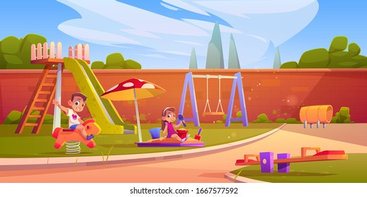 Kids on playground in summer park, garden or backyard with slide, sandbox and swing. Vector cartoon illustration of happy girl playing in sandpit and boy on rocking horse in kindergarten