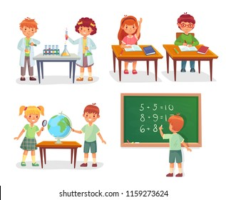 Kids on school lesson. Primary schools pupils on chemistry, biology lessons, schoolchild learn geography globe or sit at desk, pupil education vector cartoon isolated icon illustration set
