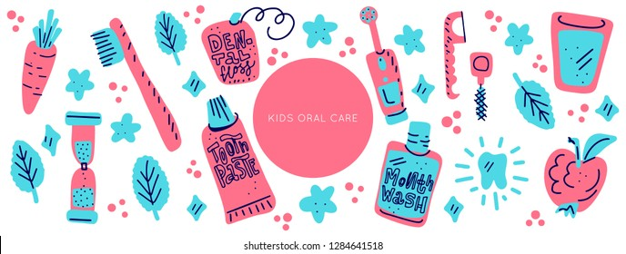 Kids oral care vector set. Dental hygiene for child - icons. Illustration made in doodle style, colourful background. Horizontal header web template.