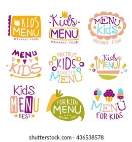 Kids Organic Food Hand Drawn Banner Set Of Artistic Decorative Vector Design Writing