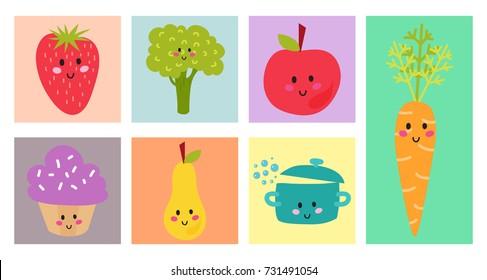 Kids organic menu hand drawn banner vector set baby restaurant healthy fresh food card design.