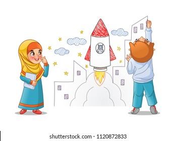 Kids paint draw space rocket on the wall, cartoon character design, vector illustration, isolated against white background.