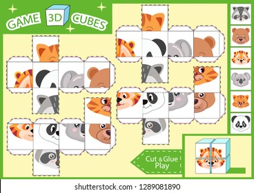 Kids paper craft. 3 d Cubes puzzle. Cut and glue cube with cute animals characters. Children activities game. Find matching parts picture. Kids activity page for book. Vector illustration.