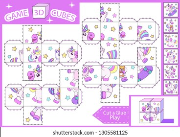 Kids paper craft. 3 d Cubes puzzle. Cut and glue cube with cute unicorns. Children activities game. Find matching parts picture. Kids activity page for book. Vector illustration.