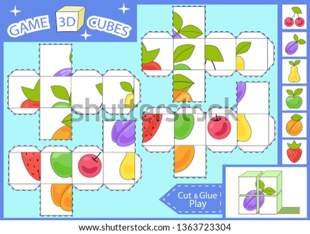 Kids Paper Craft 3 D Cubes Stock Vector Royalty Free 1363723304