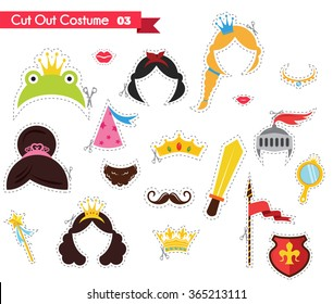 kids paper cut outs with prince and princess theme. can be used as a props for a themed party