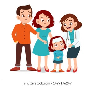 kids with parent doctor examination