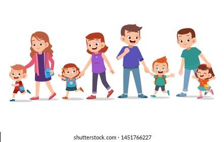 kids with parent vector set bundle