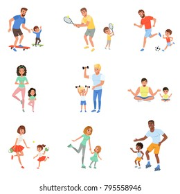 Kids with parents playing football, tennis, ping pong, riding on skateboards and rollers, working out with dumbbells and meditating. Family time. Flat vector design