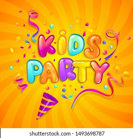Kids party banner with party cracker,confetti,serpentine sparkles on sunburst background in cartoon style. Place for fun and play. Poster for children's playroom decoration. Vector illustration.