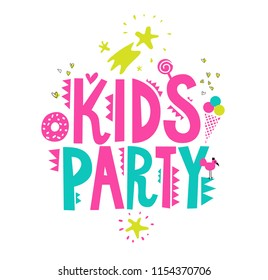 Kids party emblem with cute elements. Hand drawn inscription Kids party and ice cream, bird, star, comet, heart. Party template design. Vector illustration