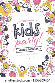Kids party flayer template with happy little boys and girls characters. Text place, invitation design, card, banner, poster, voucher. Hand drawn style. Vector illustration.