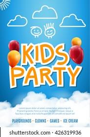 Kids party invitation balloon design poster template. Preschool Kids fun event celebration flyer. Kids show greeting