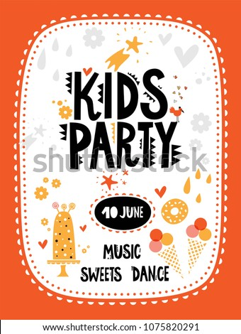 Kids Party Invitation Template Cute Animals Stock Vector Royalty