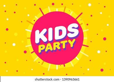 Kids party letter sign poster vector illustration in yellow sun background