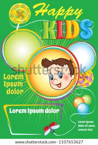 kids party vector flyer birthday invitation stock vector royalty