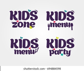 Kids Party, Zone, Menu design poster template. Children Playground. Colorful logos. Vector illustration.