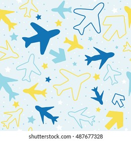 Kids Pattern Background With Color Planes Arrows And Stars Hand Drawn Children Doodle